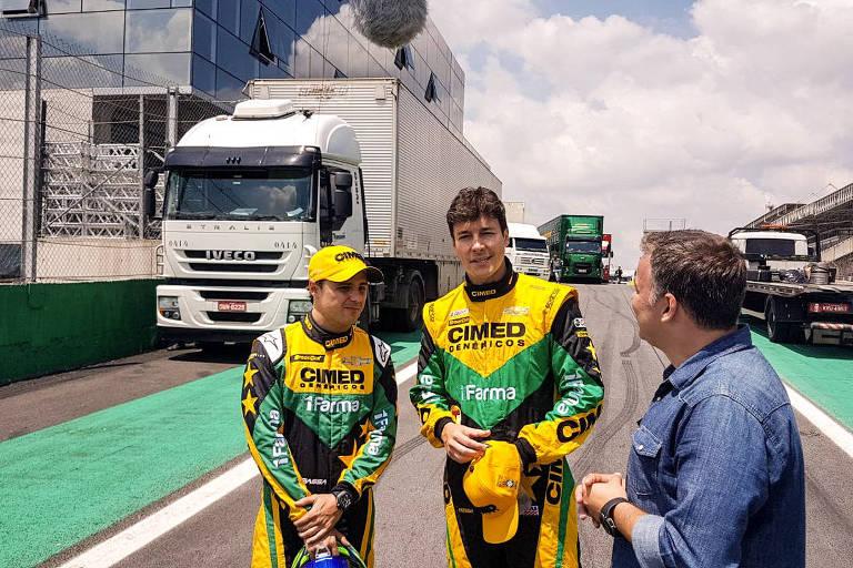 Felipe Massa, Rodrigo Faro e Cacá Bueno em uma prova de duplas da Stock Car