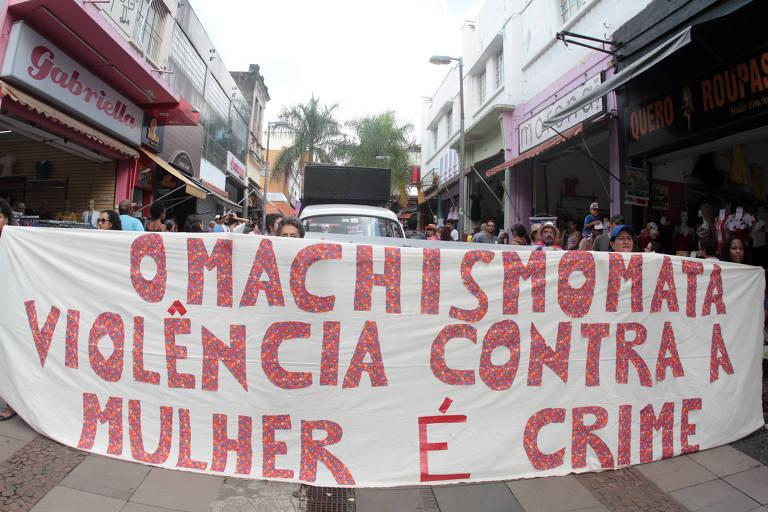 Movimento feminista em Campinas no último sábado