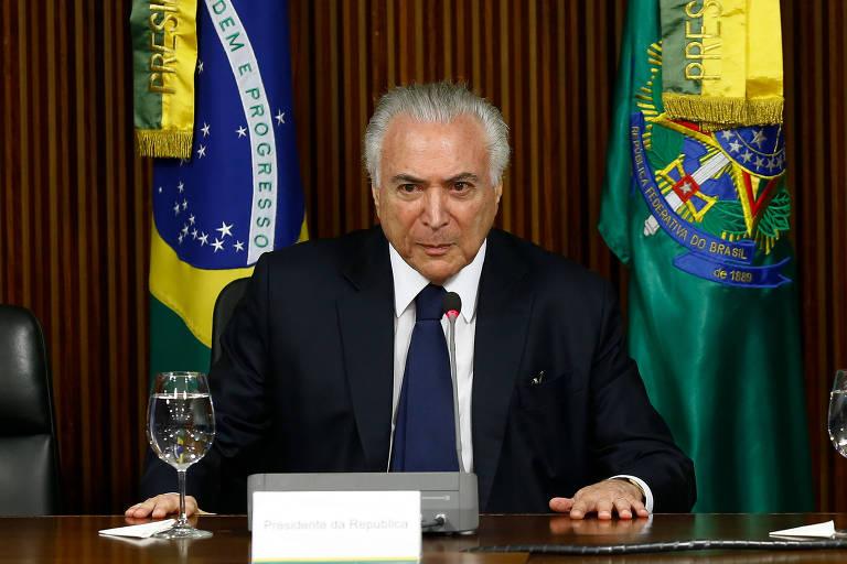 O presidente da República, Michel Temer, durante reunião com prefeitos no Palácio do Planalto, em Brasília