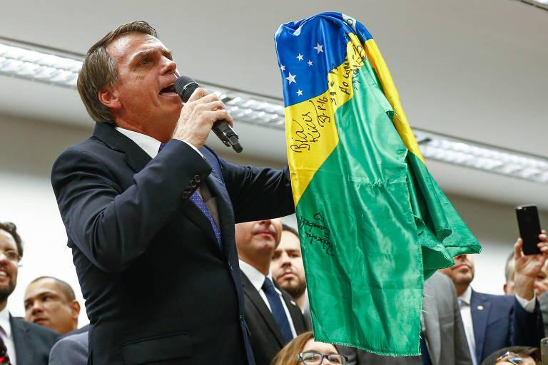 O deputado e pré-candidato à Presidência Jair Bolsonaro (RJ) em ato de filiação ao PSL, na Câmara