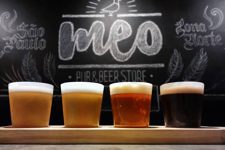 Régua de degustação de cervejas especiais do Meo Pub, na Freguesia do Ó