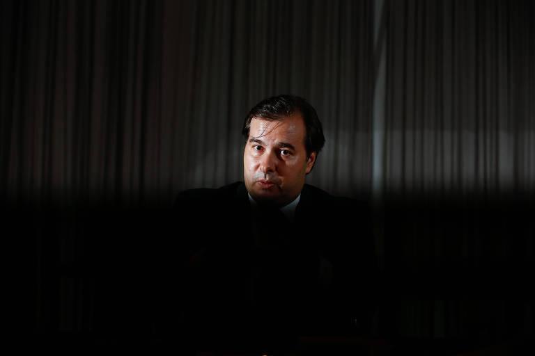 O presidente da Câmara dos Deputados, Rodrigo Maia (DEM-RJ), durante entrevista à Folha sobre sua pré-candidatura à presidência nas eleições de 2018