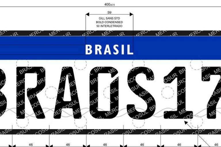 Novo modelo de placa que será adotado pelo Brasil
