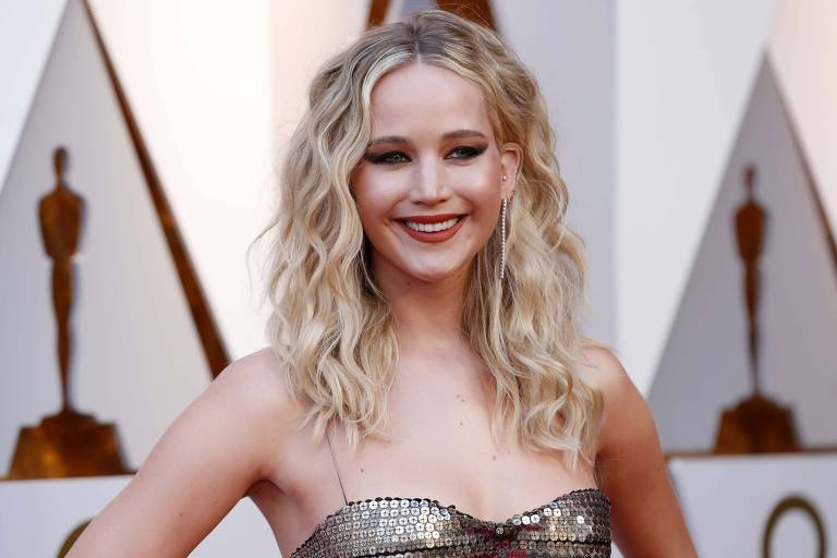Jennifer Lawrence na cerimônia do Oscar em 2018