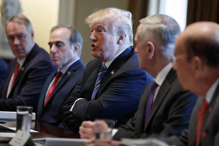 O presidente americano, Donald Trump, durante reunião na Casa Branca