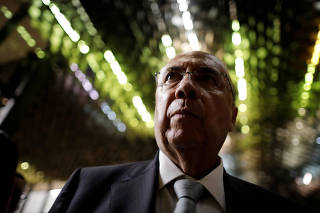 Brazil's Finance Minister Henrique Meirelles is seen after the presentation of a new OECD Economic Survey of Brazil, by Jose Angel Gurria, Secretary-General of the Organisation for Economic Co-operation and Development (OCDE), in Brasilia