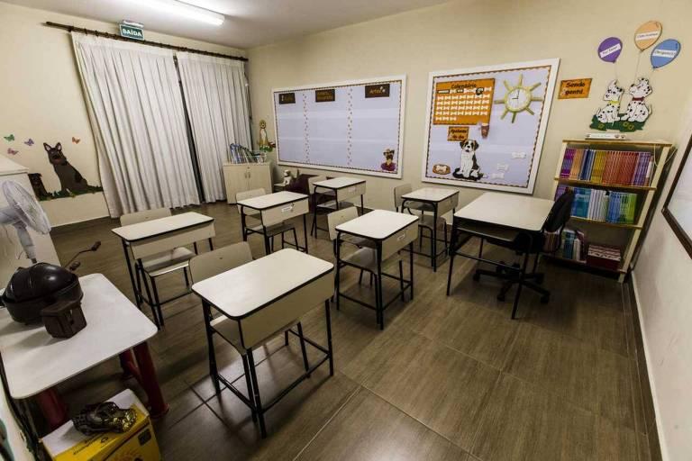 Sala de aula do colégio da igreja Rhema, em Franco da Rocha, Grande São Paulo