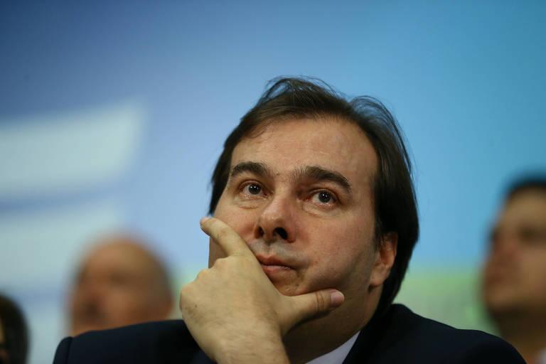 O presidente da Câmara, Rodrigo Maia, em convenção do DEM que marcou a pré-candidatura dele ao Planalto