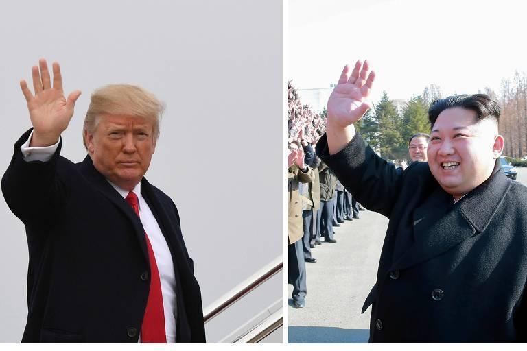 O presidente dos EUA, Donald Trump, e o ditador norte-coreano, Kim Jong-un, acenam em eventos em seus respectivos países