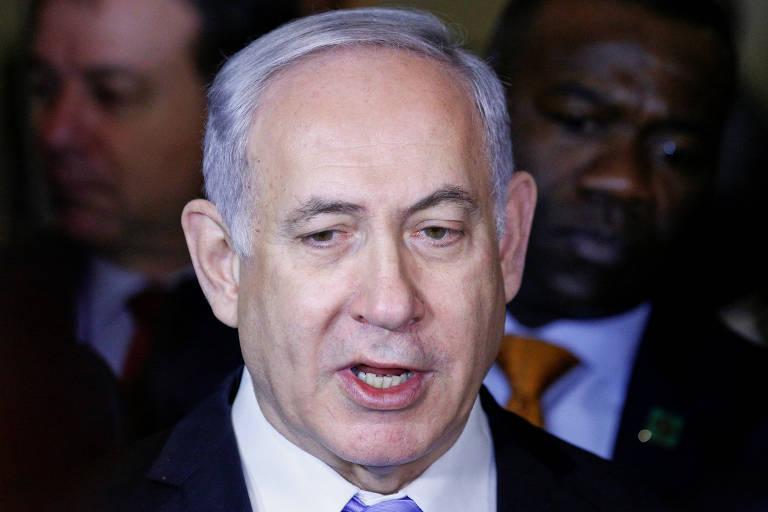 O primeiro-ministro de Israel, Binyamin Netanyahu, fala com a imprensa após abertura de exposição na sede da ONU em Nova York