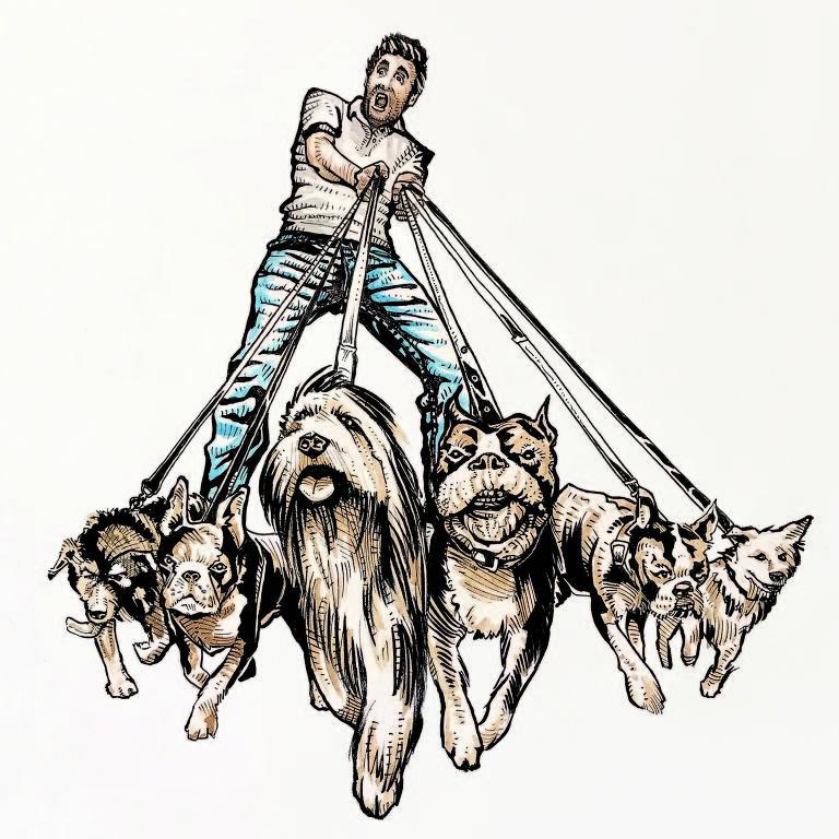 homem segurando cães