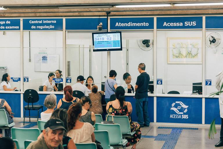 Sala de espera do posto de atendimento do Acessa SUS no Belenzinho, na zona leste de SP
