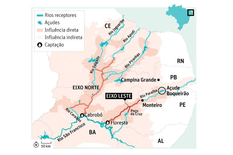 Mapa que mostra os dois eixos da obra de transposição do rio São Francisco