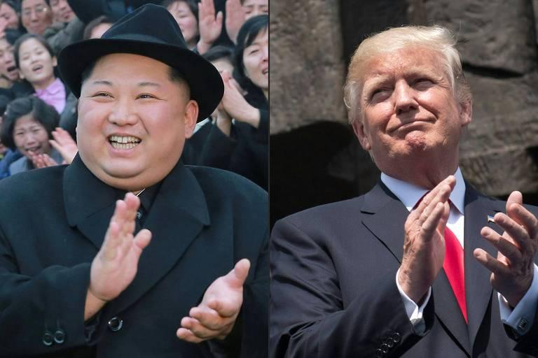 O presidente dos EUA, Donald Trump, e o líder norte-coreano, Kim Jong-un, aparecem batendo palmas em diferentes eventos