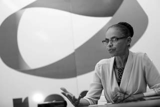 Marina Silva durante entrevista à Folha na sede do partido Rede Sustentabilidade