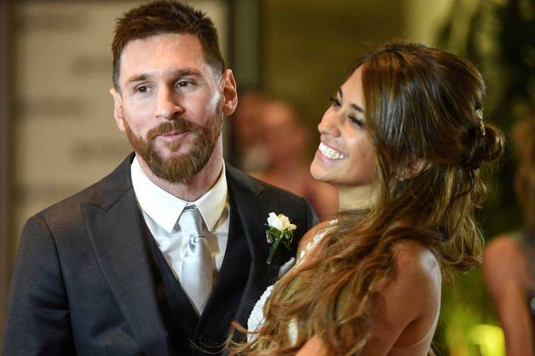 O jogador Lionel Messi com a mulher, Antonella Roccuzzo