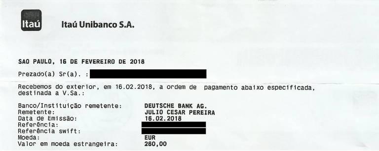 Ordem de pagamento, via Deutsche Bank, no nome de Julio Cesar Pereira