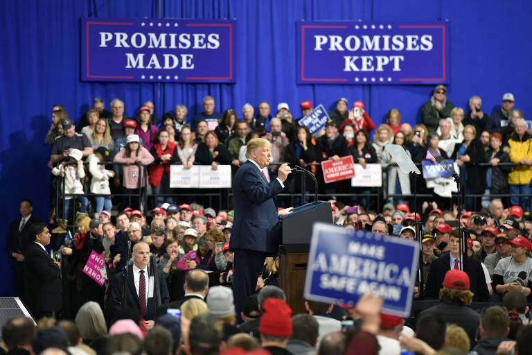 O presidente dos EUA, Donald Trump, durante comício em Moon Township, na Pensilvânia, em março