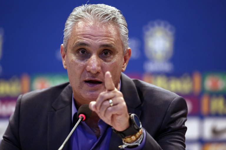 O técnico da seleção brasileira, Tite, anuncia os jogadores convocados para os amistosos contra Rússia e Alemanha