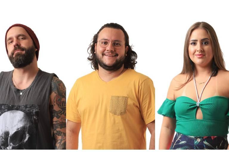 Fotomontagem de Caruso, Diego e Patrícia, emparedados no BBB 18 (Globo)