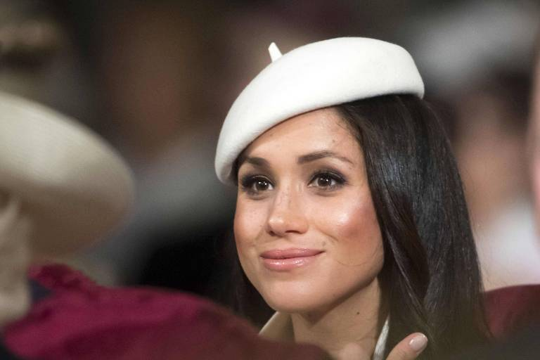 Atriz Meghan Markle em seu primeiro evento com a família real