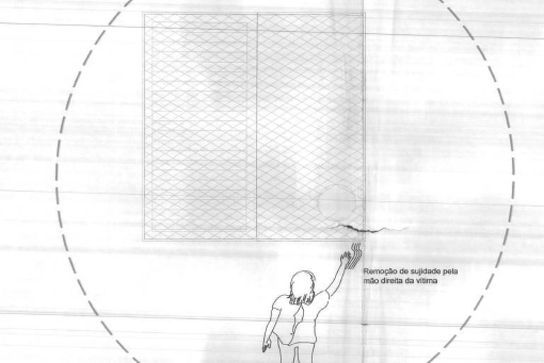 Desenho de uma criança caindo da janela, com um buraco na tela de proteção no canto direito dessa janela.