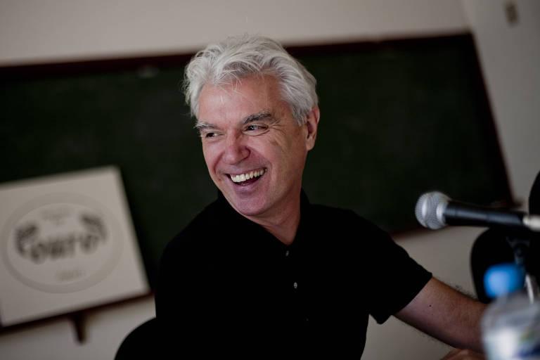 O músico e escritor David Byrne durante entrevista coletiva na 9ª FLIP (Festa Literária Internacional de Paraty)