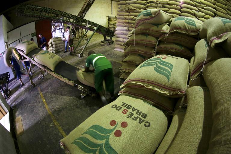 Trabalhadores carregam sacas de café em armazém em Santos (SP)