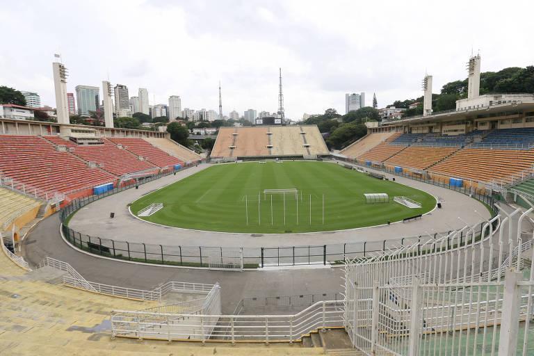 Vista geral do estádio do Pacaembu, que será usado também pelo Palmeiras nas quartas de final do Campeonato Paulista