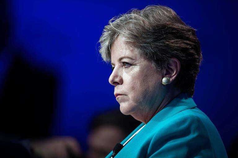 Alicia Bárcena, secretária-executiva da Comissão Econômica das Nações Unidas para a América Latina e o Caribe, participa do Fórum Econômico Mundial, em São Paulo