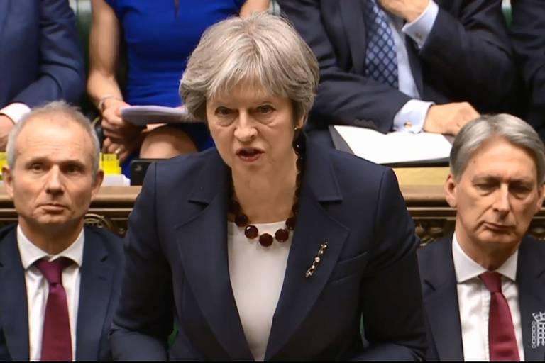 A primeira-ministra britânica Theresa May durante discurso no Parlamento