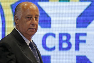 FILE PHOTO: CBF President Marco Polo Del Nero arrives for a news conference after the announcement of the players for the 2018 World Cup qualifiers, in Rio de Janeiro