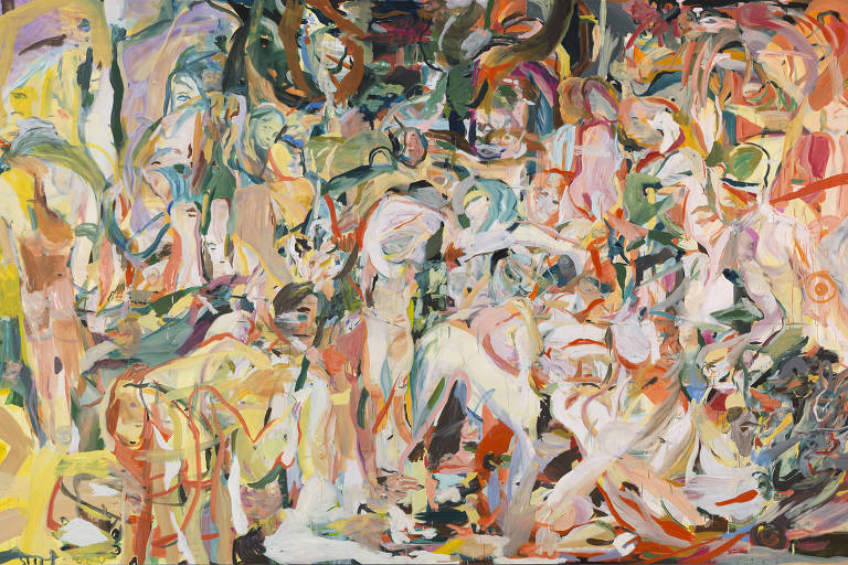"Obra ""Jungle Treatment"" (2013-2014), de Cecily Brown, em exibição no Tomie Ohtake"