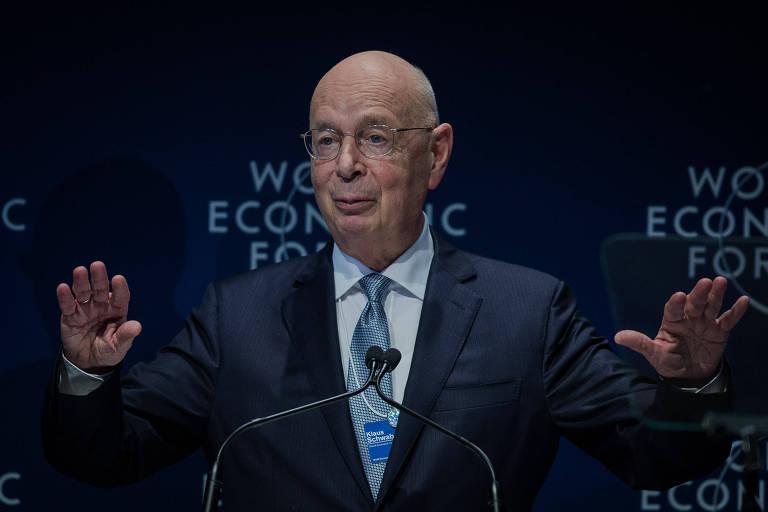 Klaus Schwab na plenária de abertura do Fórum Econômico Mundial para a América Latina, em São Paulo