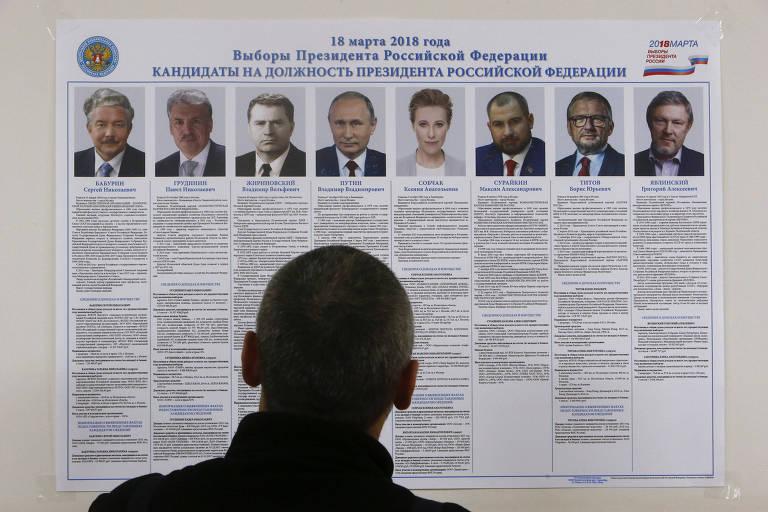 Votante olha para cartaz com os oito candidatos presidenciais da Rússia em centro de votação na ilha de Kolguyev, no Ártico