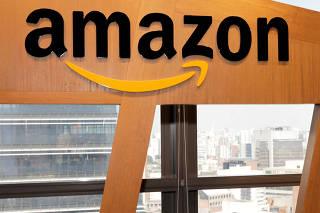 FILE PHOTO: The logo of Amazon.com Inc is seen in Sao Paulo