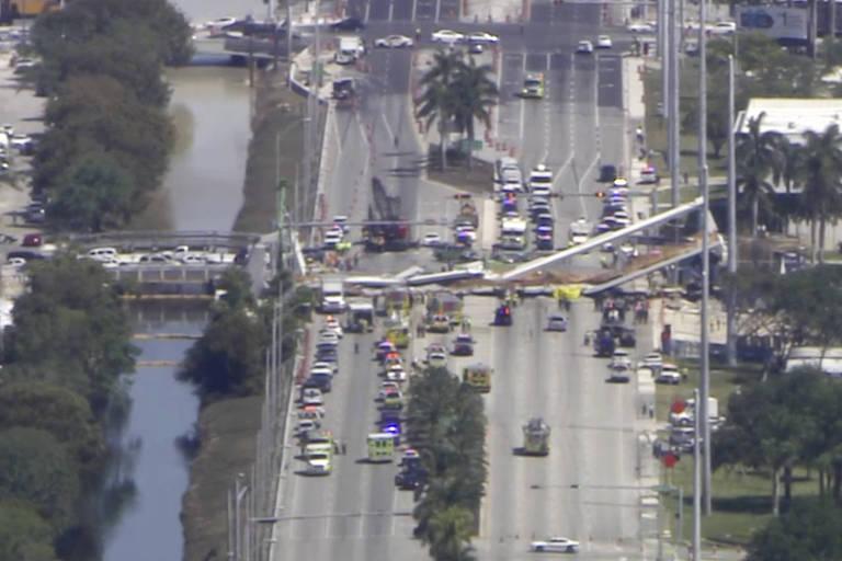 Passarela desaba em Miami e deixa pelo menos quatro mortos