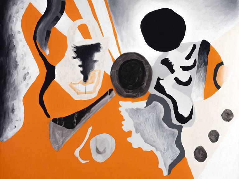 pintura em laranja, branco e preto