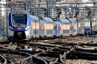 A train arrives at the French state-owned railway company SNCF station in Marseille