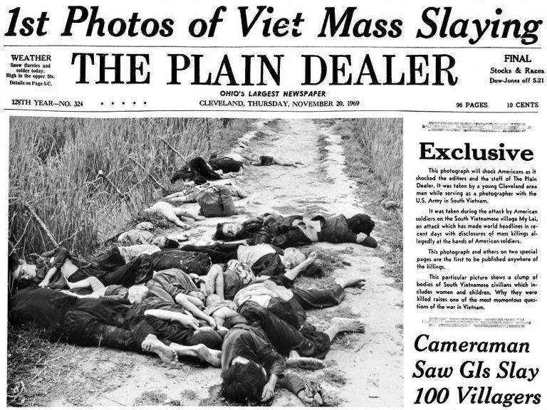 """Jornal """"The Plain Dealer"""", de Cleveland (Ohio), foi o primeiro do mundo a publicar as imagens do massacre de My Lai, no Vietnã"""
