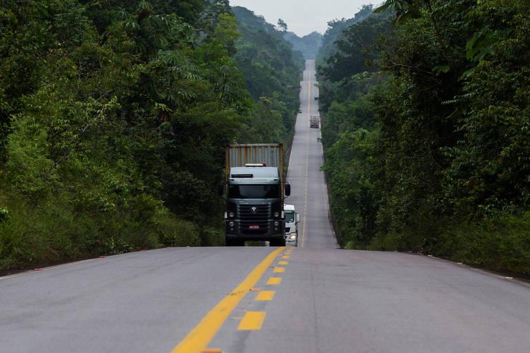 BR 174 que liga as cidades de Boa Vista e Manaus