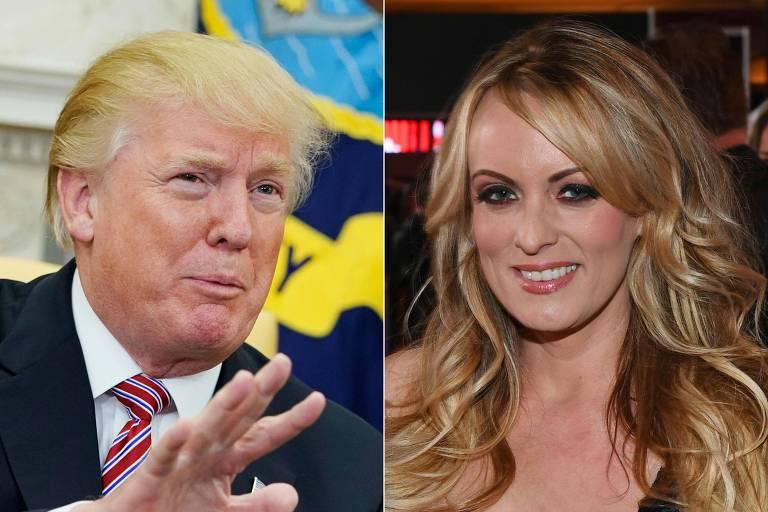Fotomontagem mostra Donald Trump levantando a mão na altura do peito enquanto fala e a atriz pornô Stormy Daniels sorrindo