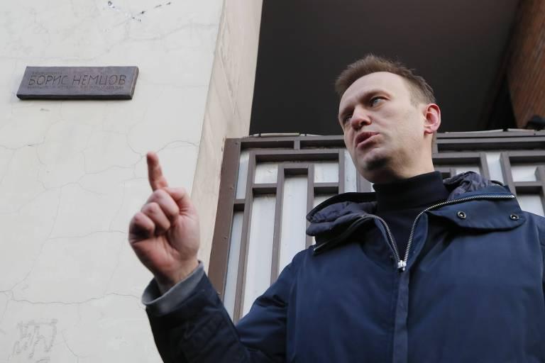 O líder oposicionista Alexei Navalni em Moscou; observadores eleitorais de sua rede foram presos neste sábado (17)