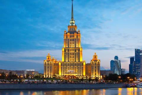 Fachada do Hotel Radisson, local em que a seleção brasileira ficará hospedada em Moscou, para o amistoso contra a Rússia