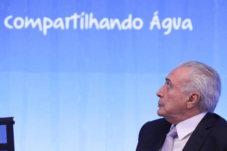 O presidente Michel Temer durante cerimônia de abertura do Fórum Mundial da Água, no Palácio do Itamaraty, em Brasília