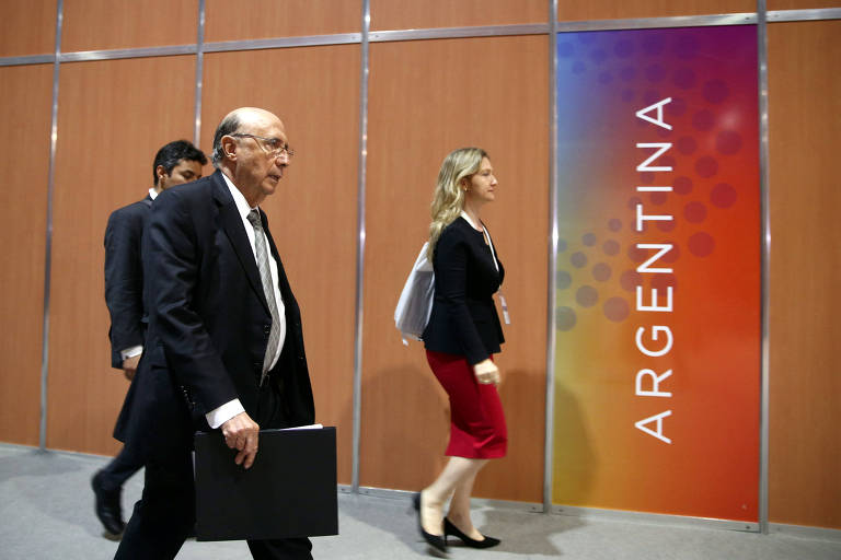 O ministra da Fazenda do Brasil Henrique Meirelles chega para o encontro do G20 em Buenos Aires