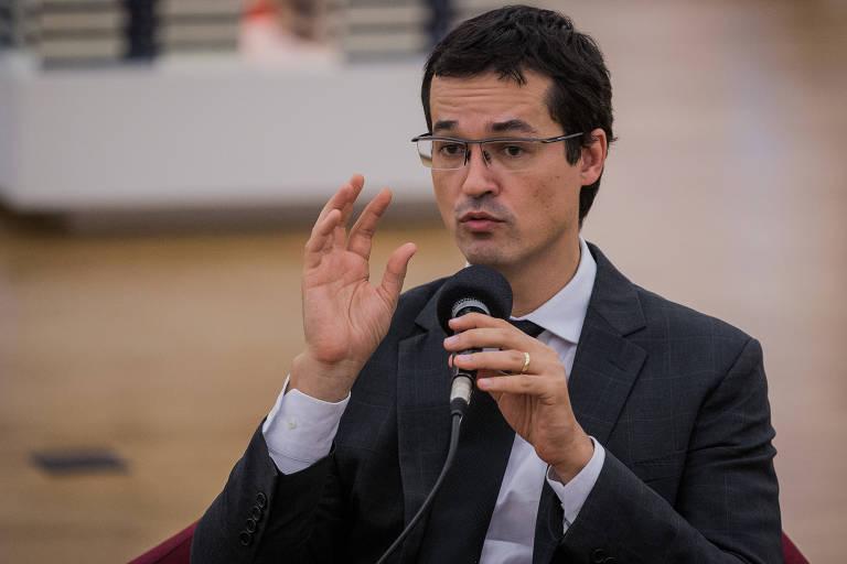 O procurador da Lava Jato, Deltan Dallagnol, durante debate em São Paulo