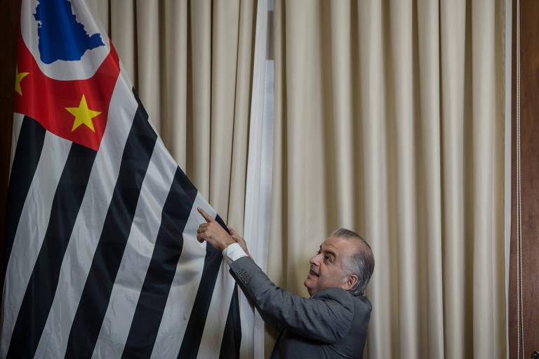 O governador de São Paulo, Márcio França (PSB), no Palácio dos Bandeirantes, em São Paulo