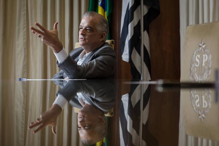 O governador de São Paulo, Márcio França (PSB), durante entrevista no Palácio dos Bandeirantes