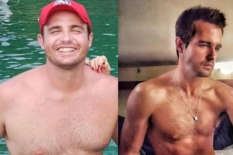 Apresentador Max Fercondini compartilhou uma imagem de antes e depois em suas redes sociais